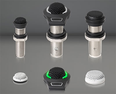 ES945O/TB3, ES945O/FM5 and ES945O/XLR Omnidirectional Condenser Boundary Microphones; bottom row: ES947WC/TB3, ES947C/FM3 and ES947WC/XLR Cardioid Condenser Boundary Microphones