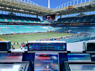Hard Rock Stadium from behind the primary SD5 FOH console