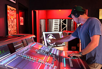 3G's Tom Worley at the DiGiCo Quantum7 in Sixth Sense's recording and broadcast control room
