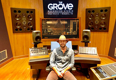 The Grove Studio manager John New Dollahite at the studio's new  Carl Tatz Edition Argosy Dual 15-800 Workstation