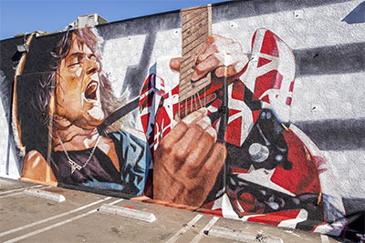 Eddie Van Halen mural at Guitar Center Hollywood.