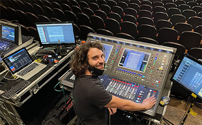 FOH Engineer Daniel Ellis at the SD12 96 desk on Kim Walker-Smith's tour