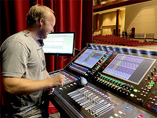 Front Porch Productions' Aaron Talley at the SD12 96 monitor console