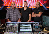 Denis Savage, Jean-Sébastien Boucher and Martin Paré with SSL Live L550 digital mixing console